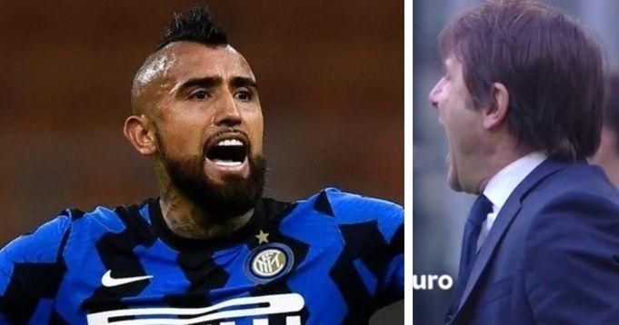 """""""Arturo, spielen und abhauen!"""": Antonio Conte schießt öffentlich gegen Vidal, weil er gegen Schiri-Entscheidung protestiert - logo"""