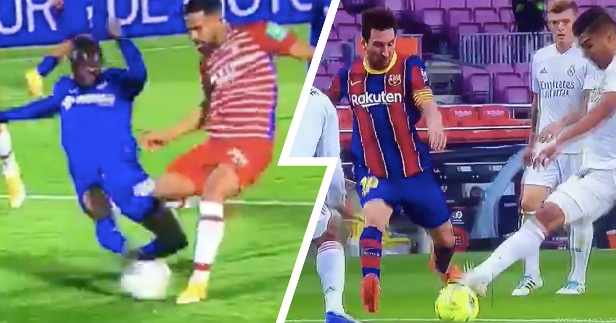 Double standards: Granada win penalty for same foul as committed by Casemiro on Messi in Clasico