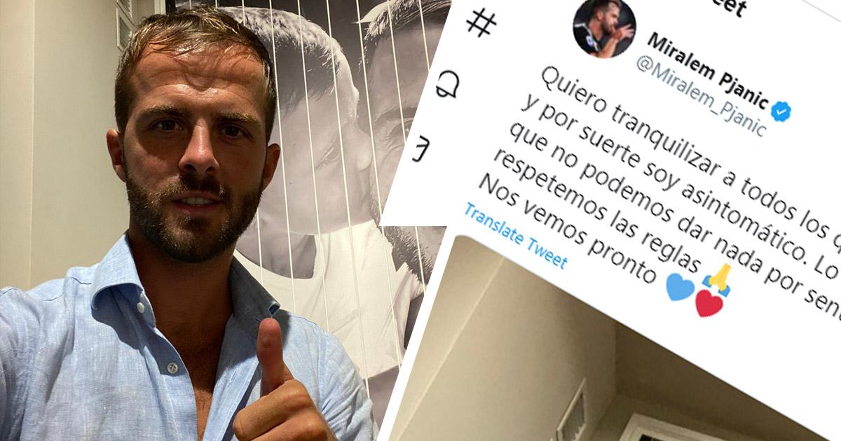 Barcelona midfielder Miralem Pjanic addresses the fans after going down with coronavirus