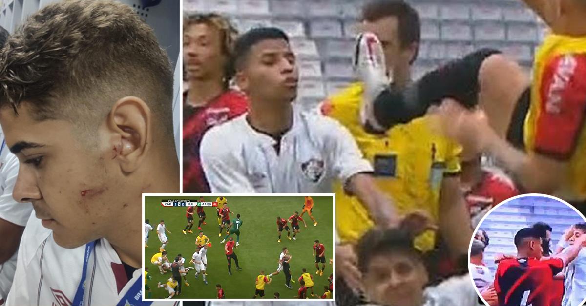 Un joueur brésilien lance un coup de pied brutal de kung-fu au visage de son adversaire lors de la finale