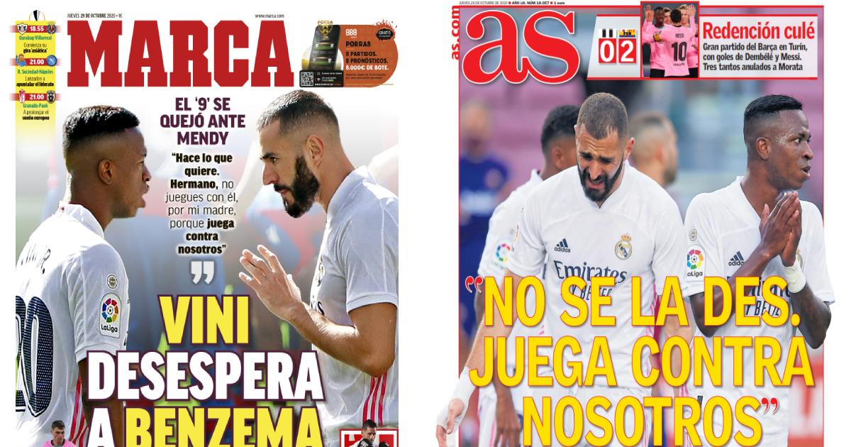 Vinicius' surprise, Benzema's denial: Spanish media weighs in on Gladbach drama