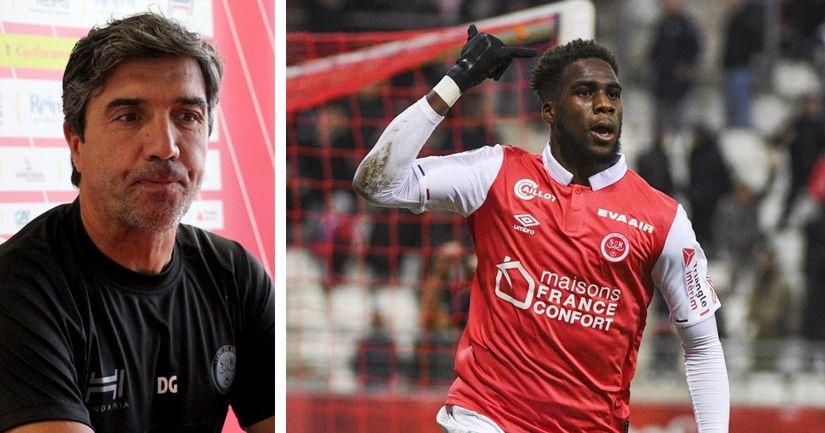 David Guion, entraineur de Reims envisage un possible départ de son attaquant Boulaye Dia ciblé par l'OM - logo
