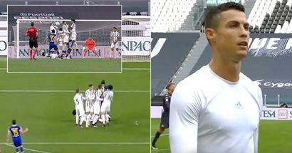 'Inexcusable': Cristiano Ronaldo la vuelve a liar en la barrera durante un lanzamiento de falta