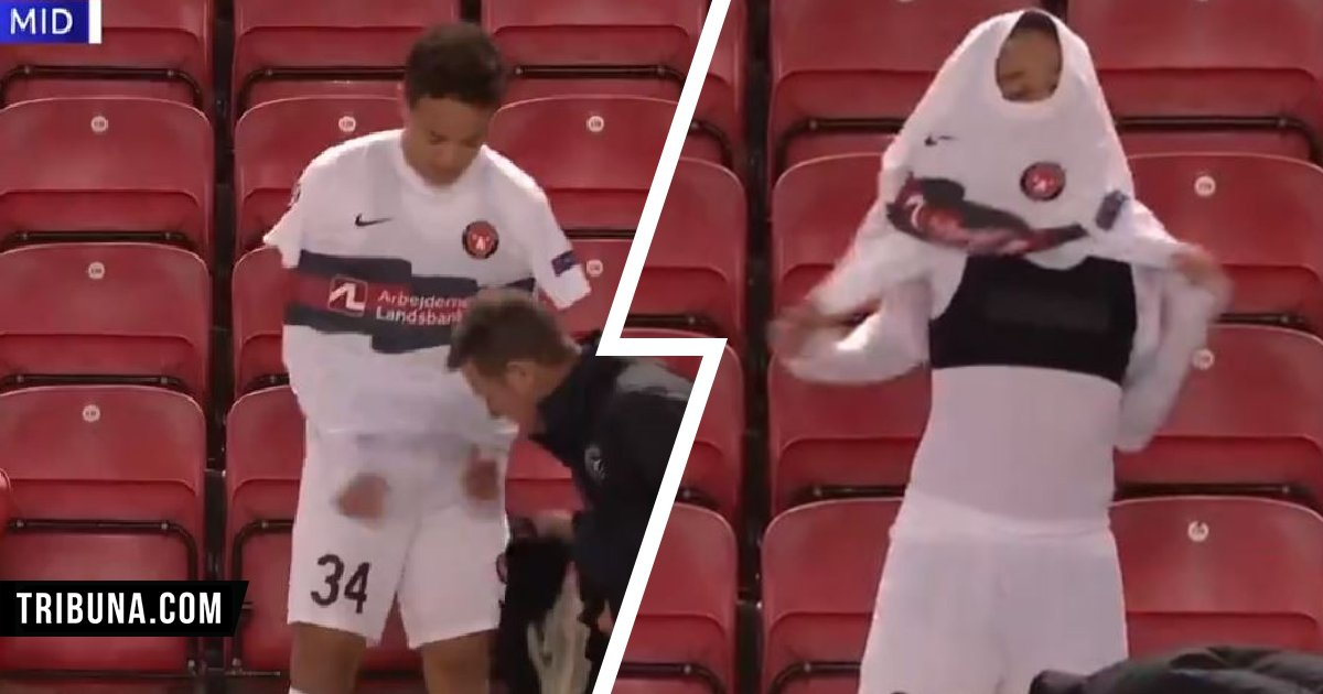 LFC's opponent Midtjylland are so innovative their player has weird technique of putting shirt on (video)