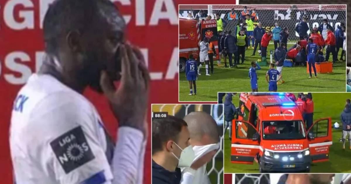 Pepe llorando tras un grave choque entre dos jugadores en Portugal