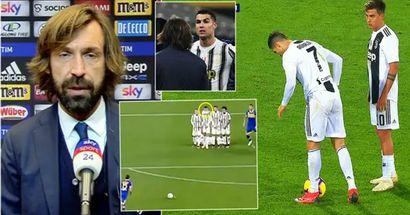 Andrea Pirlo envía una advertencia a Cristiano Ronaldo tras su peligroso comportamiento durante un tiro libre