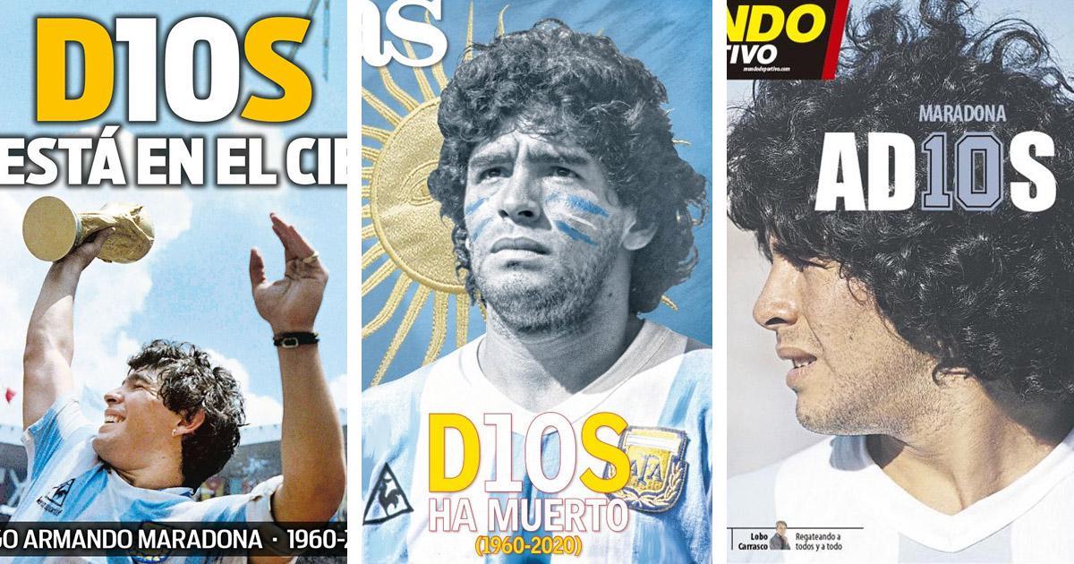 'D10S ha muerto' y 'D10s ya está en el cielo': Toda la prensa deportiva española se vuelca en recuerdo de Diego Armando Maradona