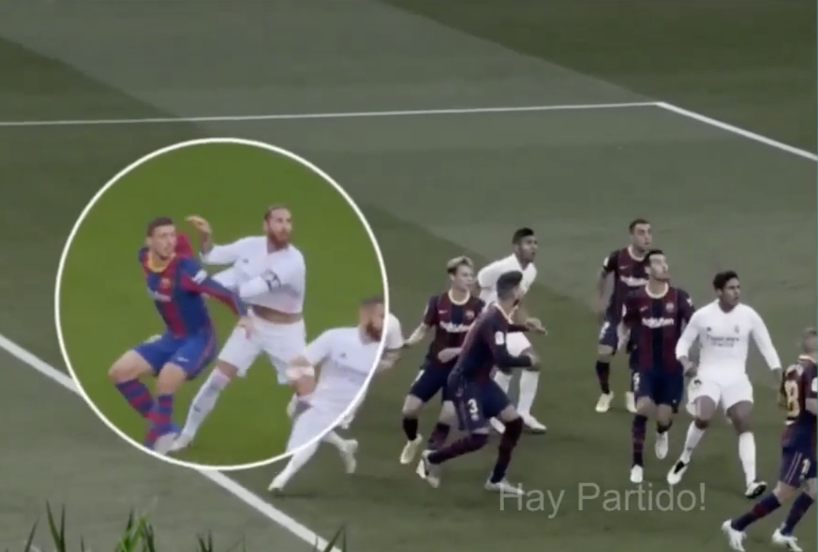 Alternate angle shows it was Ramos to push Lenglet first – and referee's  video assistant actually told him that
