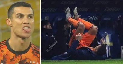 Cristiano Ronaldo ejercitó abdominales en el banquillo de la Juve tras ser sustituido