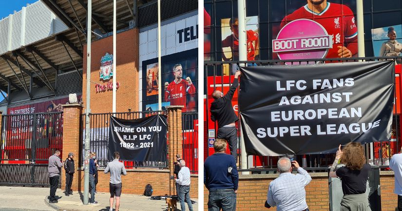 Liverpool fans take Super League protest to Anfield, erect banners outside