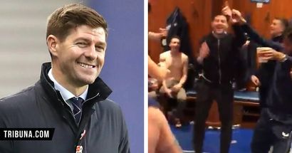 Steven Gerrard joins wild dressing room celebrations with Rangers one point away from first league title in 10 years