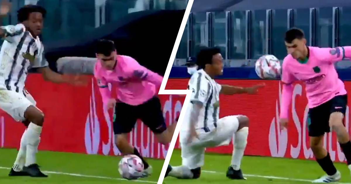 Skill of the day: 17-year-old Pedri sends 32-year-old Cuadrado back to Colombia TWICE