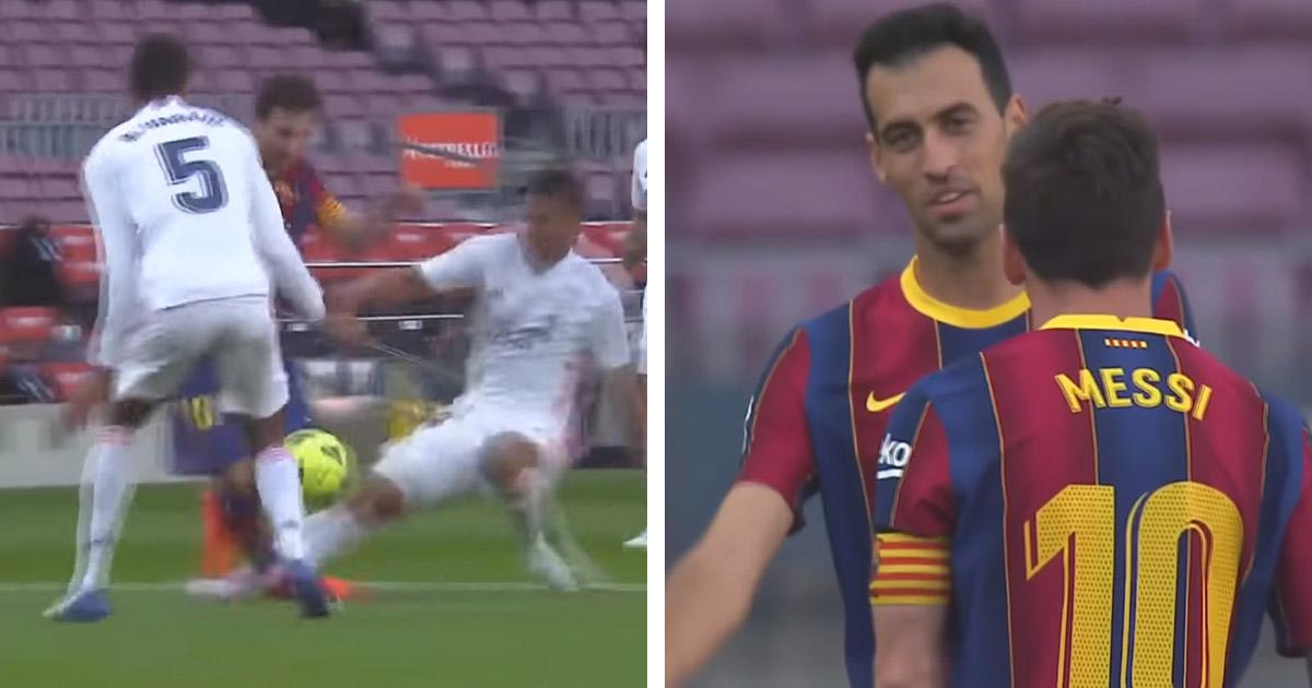 Leo Messi seemingly agrees there was no penalty after Casemiro tackle