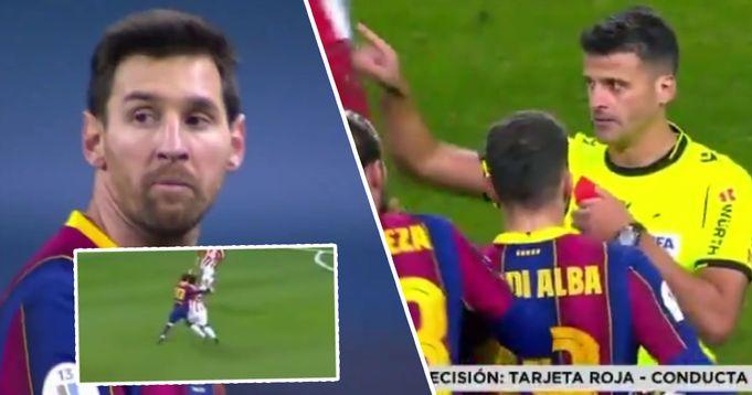 Messi espulso per la prima volta in assoluto con il Barca: la 'Pulce' scarica la frustazione colpendo l'avversario
