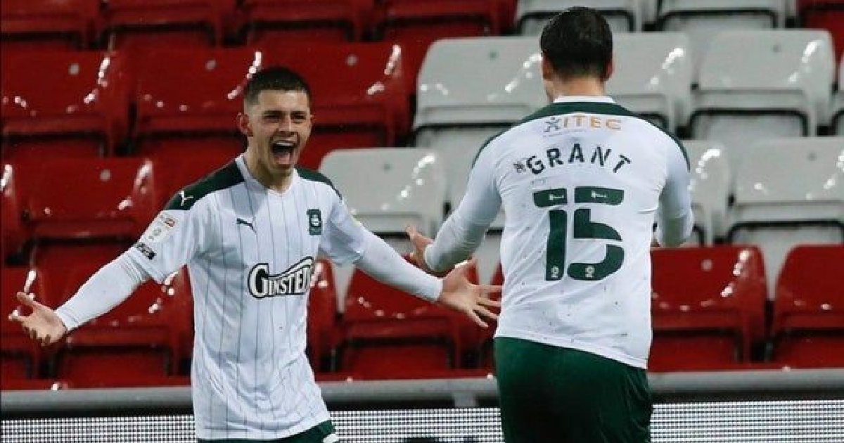 Adam Lewis scores first goal of loan spell for new side Plymouth